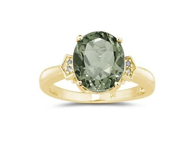 Green Amethyst  & Diamond Ring in Yellow Gold
