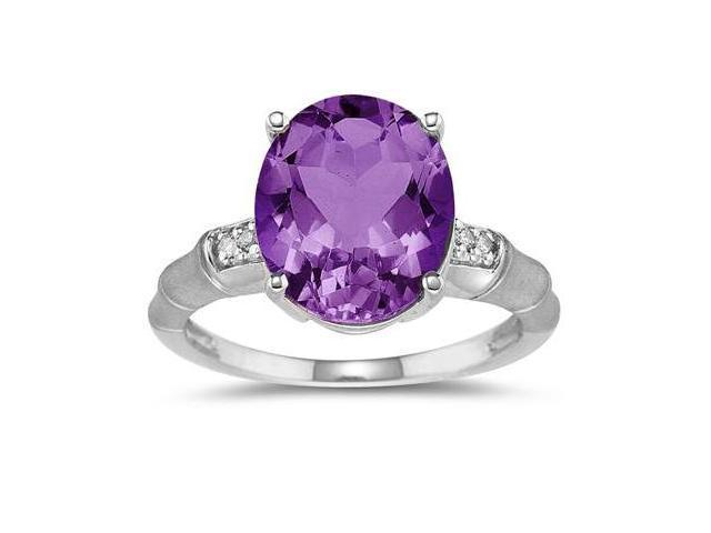 3.97 Carat  Amethyst and Diamond Ring in 14K White Gold