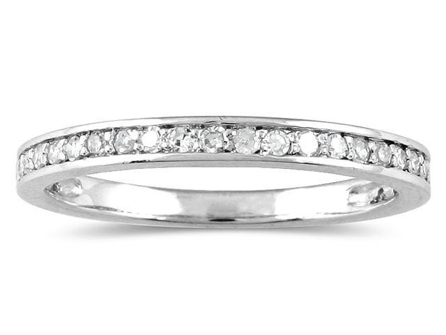 1/5 Carat Diamond Wedding Channel Band in 10K White Gold