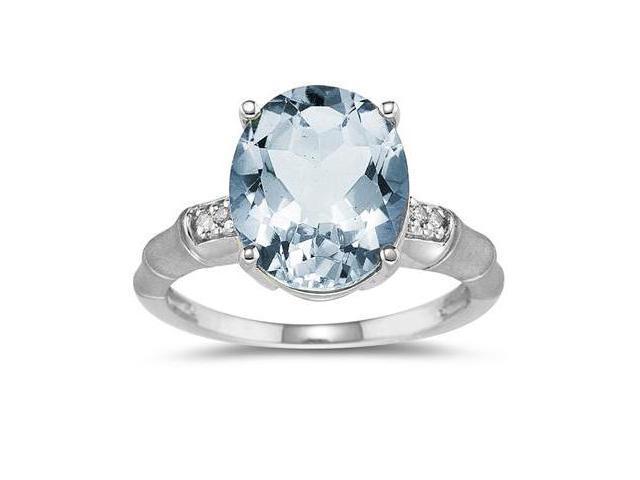 3.97 Carat  Aquamarine and Diamond Ring in 14K White Gold