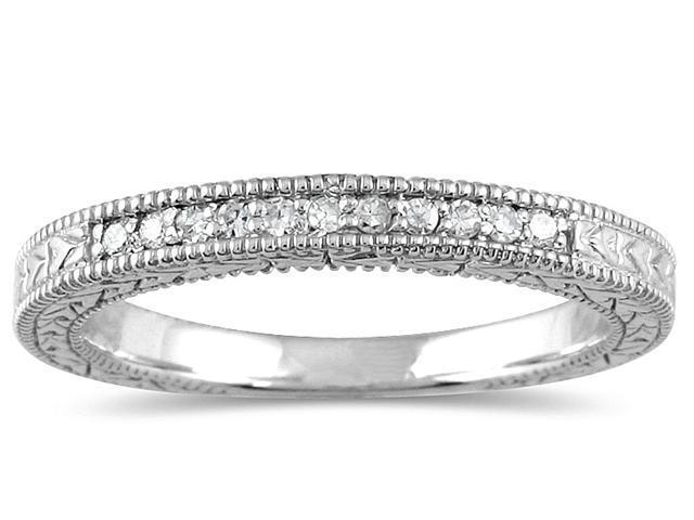 1/10 Carat Diamond Wedding Band in 10K White Gold