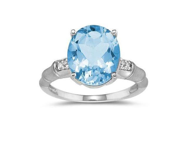 3.97 Carat Blue Topaz and Diamond Ring in 14K White Gold