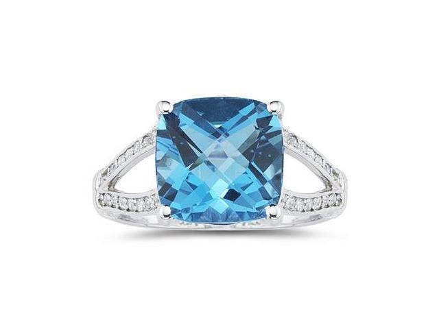 Cushion Cut Blue Topaz and Diamond Ring 10k White Gold