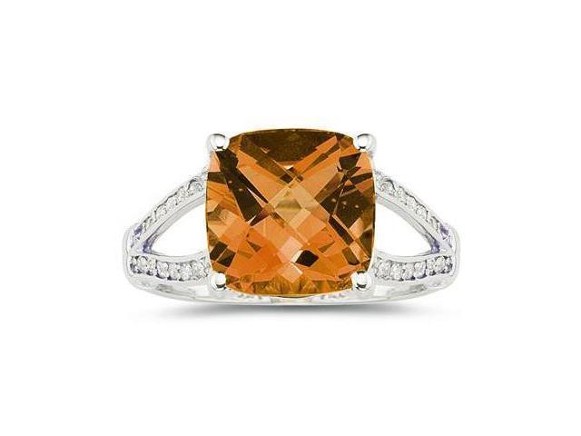 Cushion Cut Citrine and Diamond Ring 10k White Gold