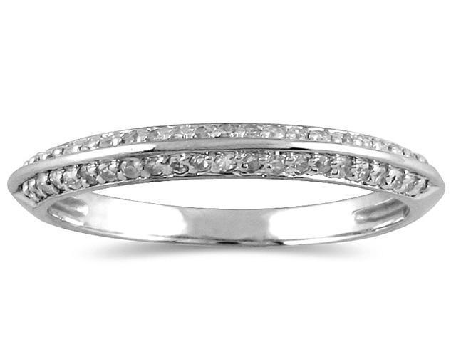 1/4 Carat Diamond Knife Edge Wedding Band in 10K White Gold