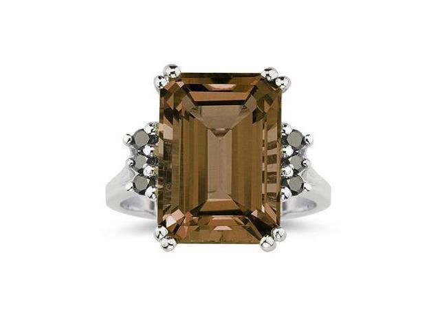 Emerald Cut  Smokey Quartz and Black Diamond Ring 10k White Gold.
