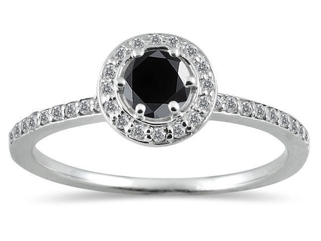 1/2 Carat Black and White Diamond Ring in 14K White Gold