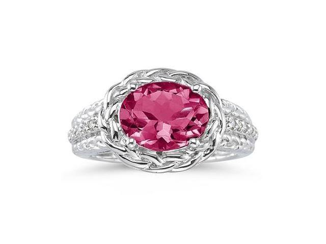 2.33 Carat Oval Shape Pink Topaz and Diamond Ring in 10kt White Gold