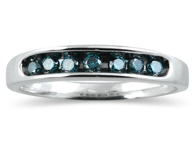 1/4 Carat Blue Diamond Ring in 10K White Gold