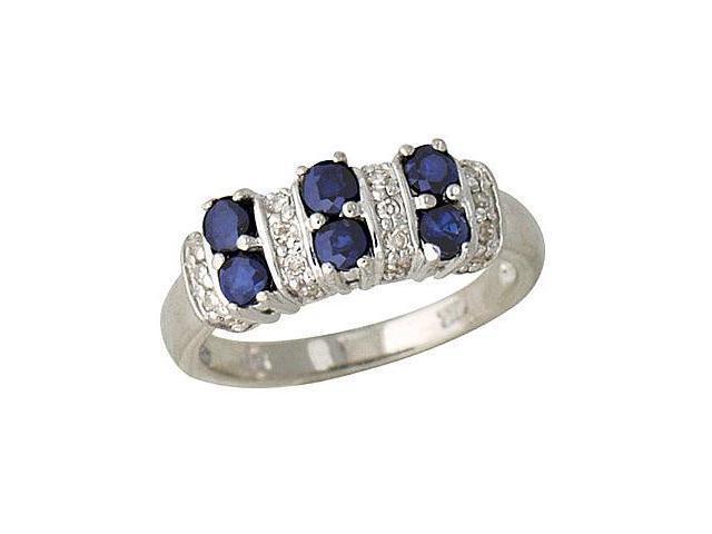 Sapphire and Diamond Ring 14K White Gold