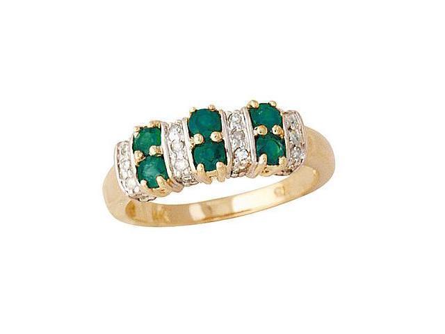 Six Stone Emerald and Diamond Ring 14k Yellow Gold