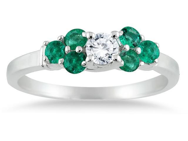 14kt White Gold Diamond and Emerald Women's Ring