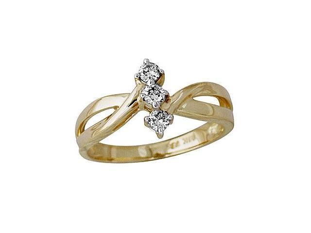 1/4 Carat Three Stone Diamond Ring in 10K Yellow Gold