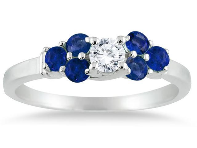 14kt White Gold Diamond and Sapphire Women's Ring