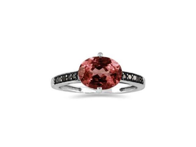 Garnet and Black Diamond Ring in 10K White Gold