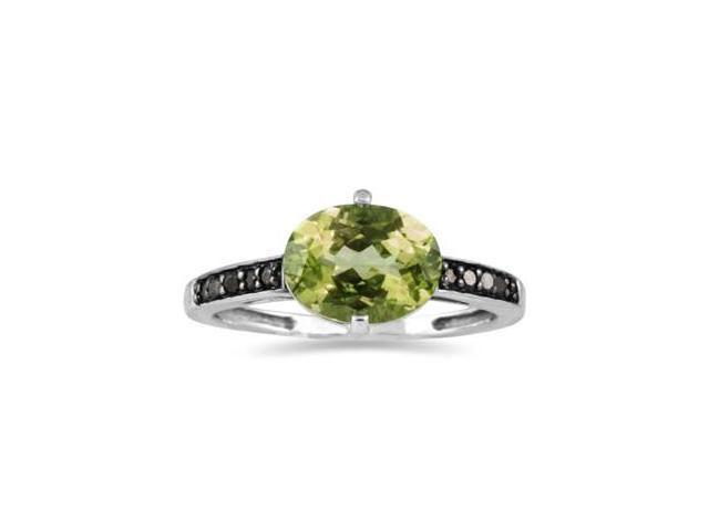 Peridot and Black Diamond Ring in 10K White Gold