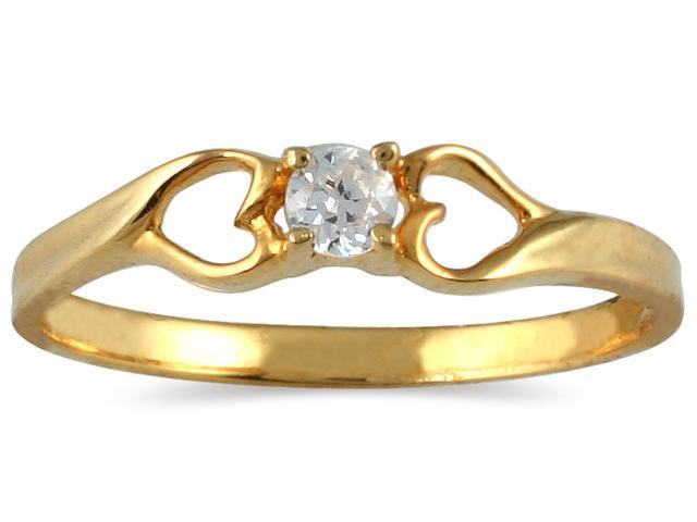 1/10 Carat TW Diamond Heart Ring in 10K Yellow Gold
