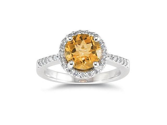 2.50 Carat Citrine and Diamond Ring 14K White Gold