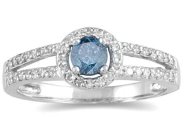 1/2 CTW Blue and White Diamond Ring in 10K White Gold