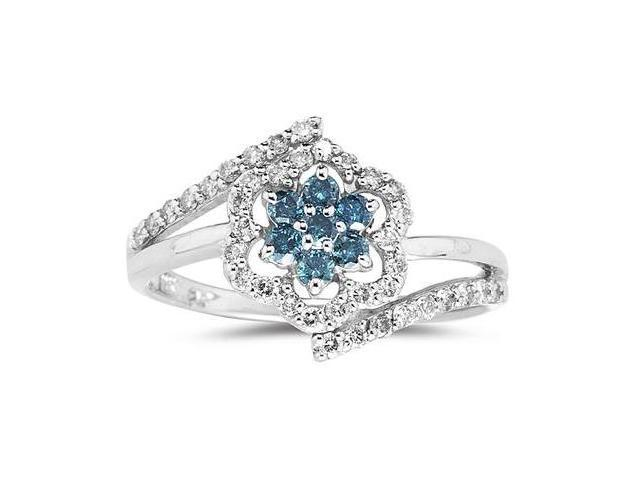 Blue and White Diamond Flower Ring in White Gold