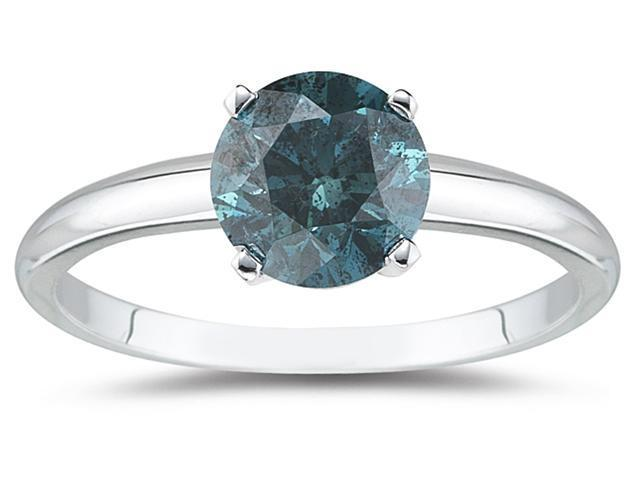 3/4 Carat Round Blue Diamond Solitaire Ring in 14k White Gold