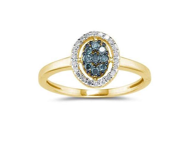 Blue and White Diamond Ring in 10k Yellow Gold