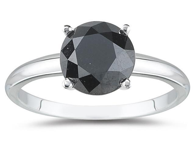 2.00 Carat Round Black Diamond Solitaire Ring in 14k White Gold