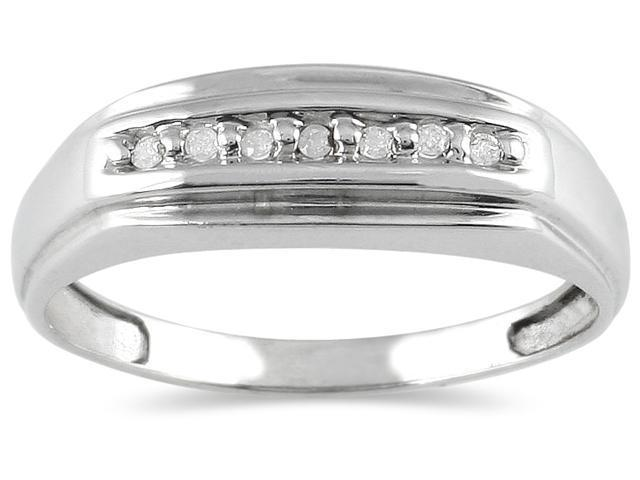 Men's Round Diamond Ring in 10K White Gold