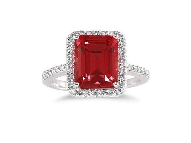 4.50 Carat Emerald Cut Garnet and Diamond Ring 14K White Gold