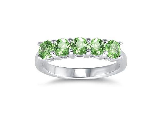 5 Stone Peridot Ring 14k White Gold