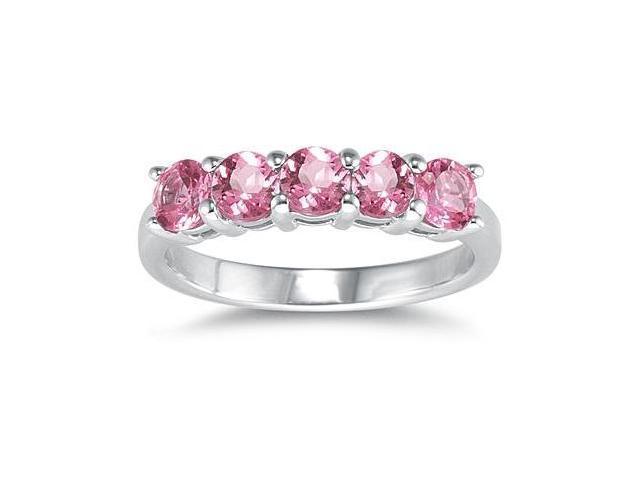 5 Stone Pink Topaz Ring 14K White Gold
