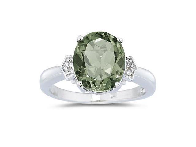 Green Amethyst & Diamond Ring in White Gold