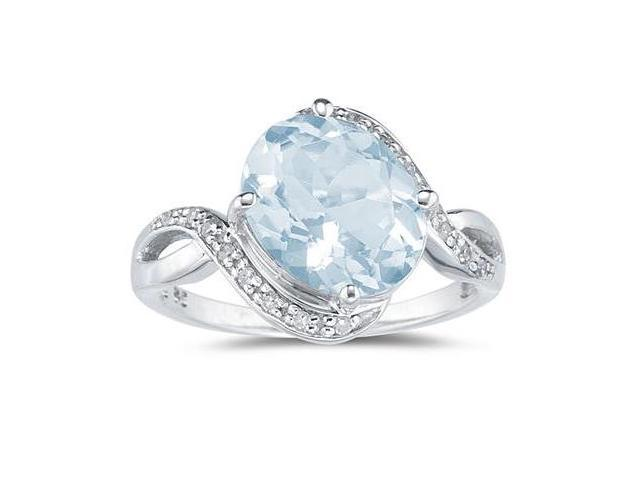 Oval Shaped  Aquamarine  and Diamond Curve Ring in 10K White Gold