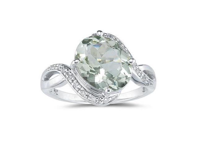Oval Shaped Green Amethyst and Diamond Curve Ring in 10K White Gold