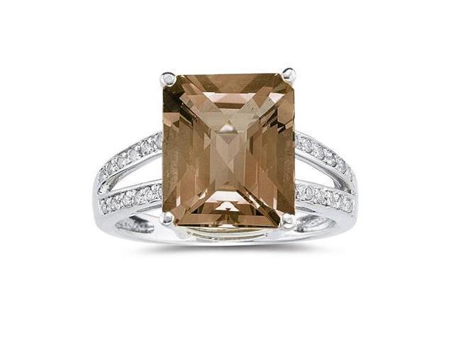 7 Carat Emerald  Cut Smokey Quartz and Diamond Ring 10k White Gold
