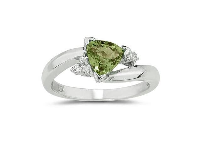 3/4 Carat Trillion Cut Peridot and Diamond Ring in 14K White Gold