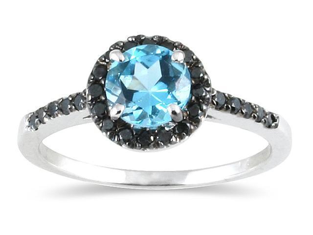 Blue Topaz and Black Diamond Ring in 10k White Gold