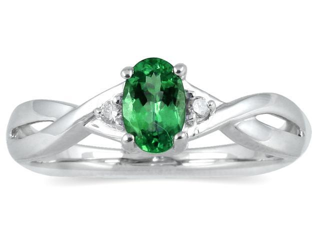 Emerald and Diamond Ring in 10K White Gold