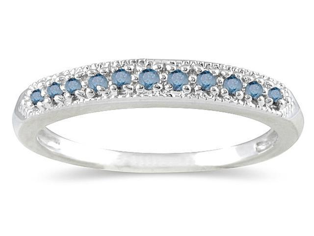 1/10 Carat Blue Diamond Wedding Band in 10K White Gold