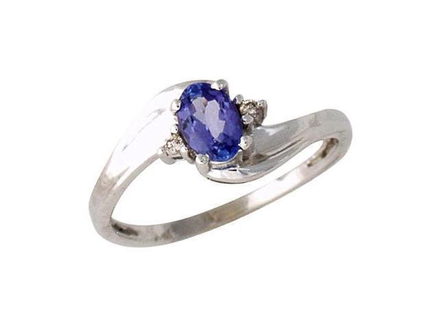 Tanzanite Gemstone and Diamond Wave Ring 14k White Gold