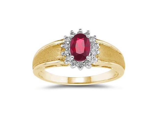 Ruby and Diamond Flower Ring 10k Yellow Gold