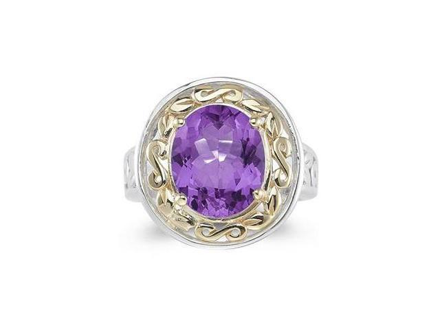 4.45ct.Oval Shape Amethyst Ring in Yellow Gold and Silver