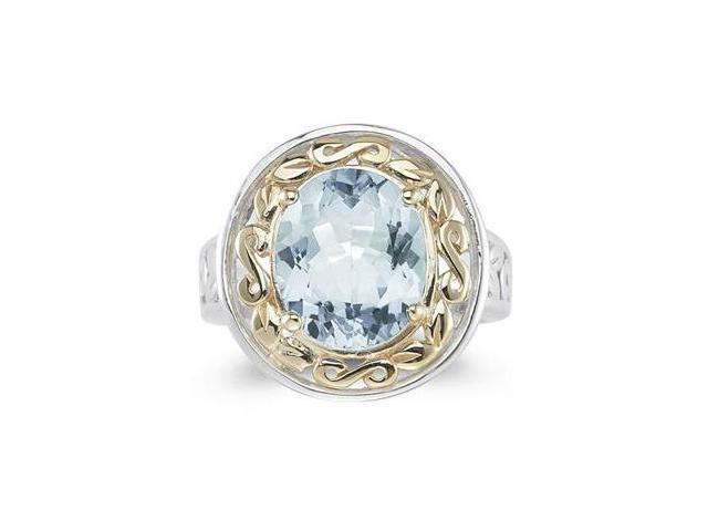 4.45ct.Oval Shape Aquamarine Ring in Yellow Gold and Silver