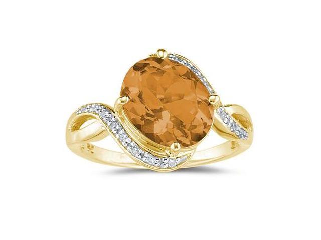 Oval Shaped   Citrine  and Diamond Curve Ring in 10K Yellow  Gold