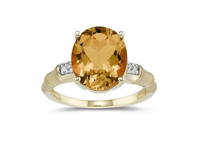 3.97 Carat  Citrine and Diamond Ring in 14K Yellow Gold