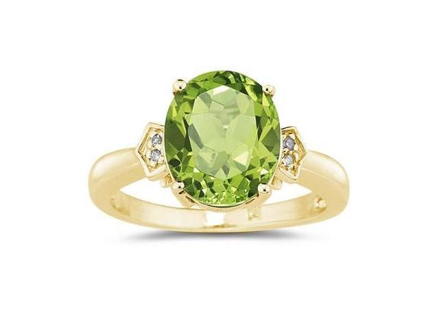 Peridot  & Diamond Ring in Yellow Gold