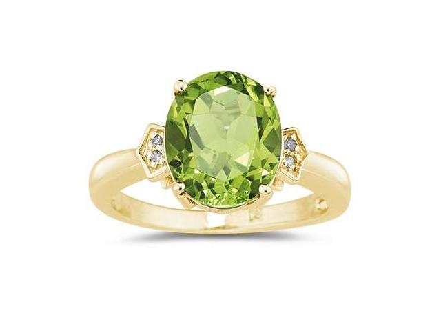 Peridot  & Diamond Ring in Yellow Gold