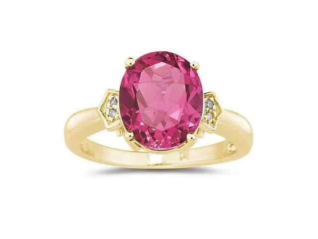 Pink Topaz & Diamond Ring in Yellow Gold