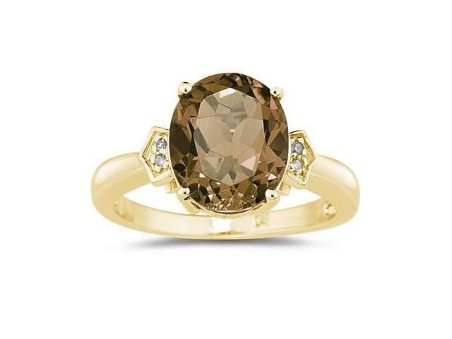 Smokey Quartz  & Diamond Ring in 10k Yellow Gold