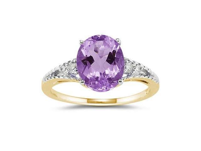 Oval Cut Amethyst & Diamond Ring in 14k Yellow Gold